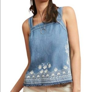 Anthropologie Meadow Rue Embroidered Denim Top